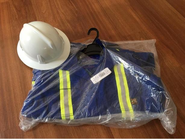New tough duck FR coveralls and hard hat