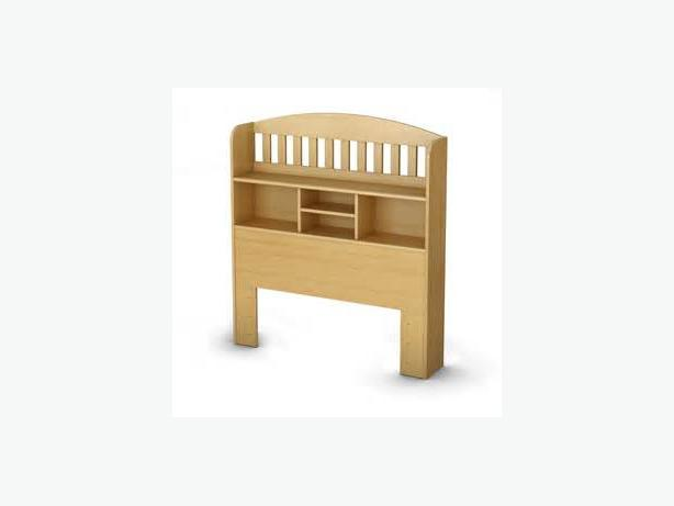 Twin size wooden headboard with bookcase in maple colour