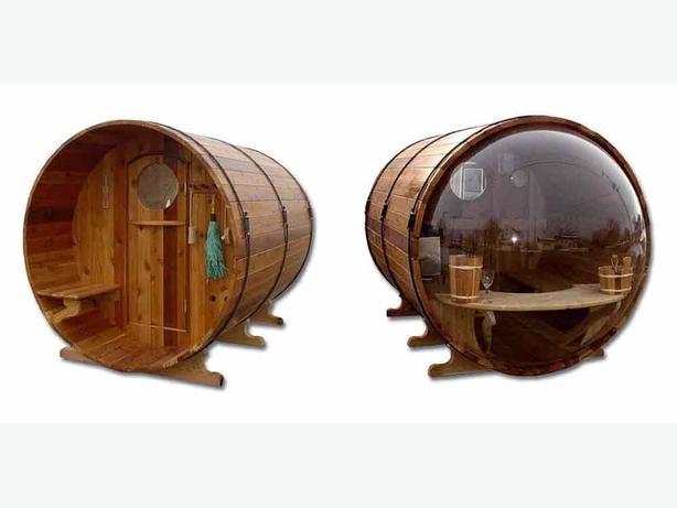 Barrel sauna with see through back wall