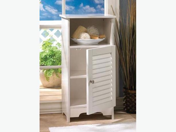 Spacesaving White Cabinet Bottom Storage With Door & Open Display Shelf New