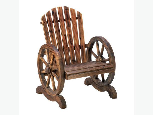 Western Country-Style Lawn & Yard Wooden Deck Chair With Wagon Wheel Armrests