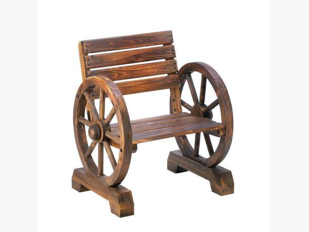 Country-Style All Wood Western Wagon Wheel Patio Deck Chair Brand New