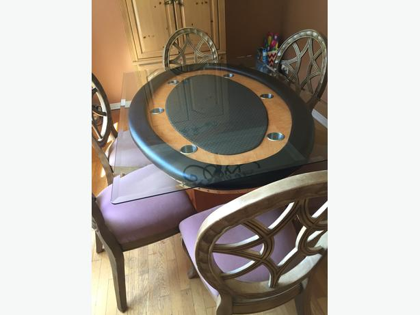 dining / poker table with 6 chairs