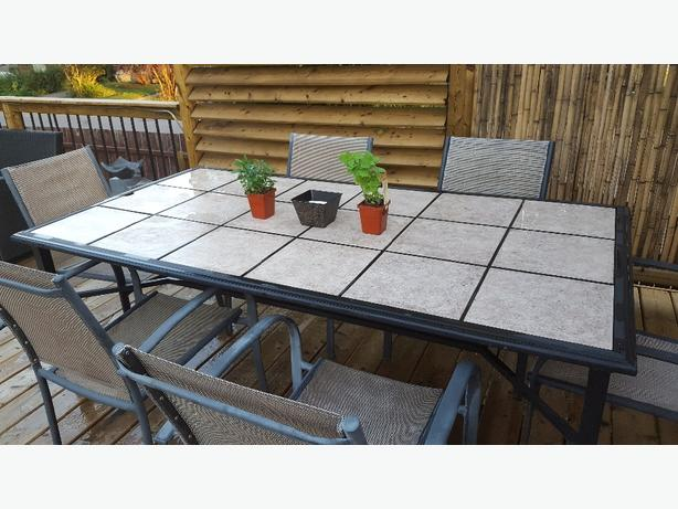 ceramic tile patio table with six chairs