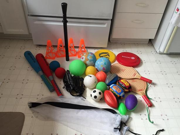 Outdoor Toy Set - T-Ball, baseball glove, balls, and more