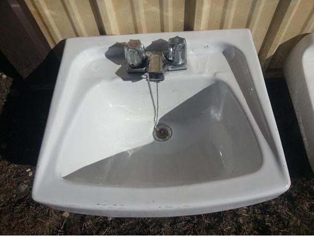 Bathroom sinks and taps.