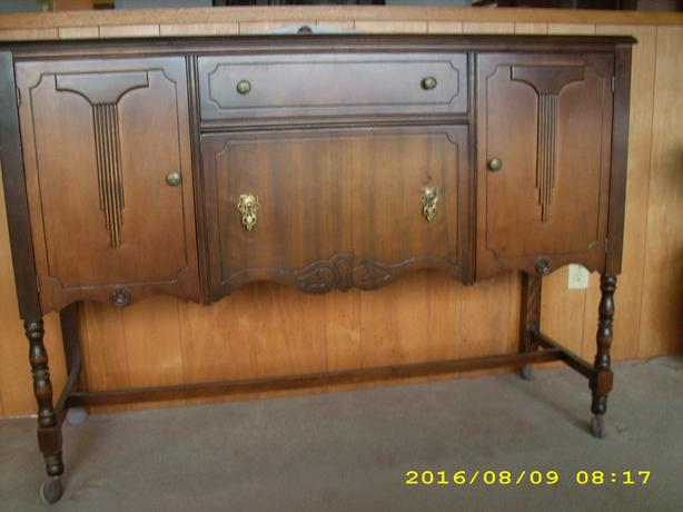 2 Pcs REDUCED Antique Dining Room Side Table China Cabinet Dark Woo