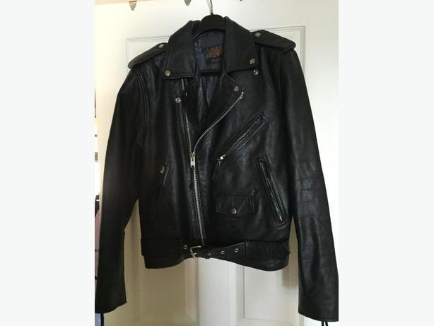 Mens Police Style Leather Motorcycle Jacket Size 42