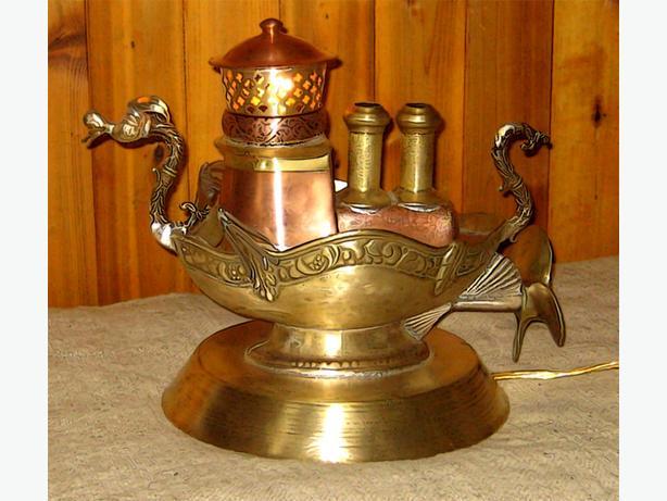 Steampunk Viking Tugboat lamp