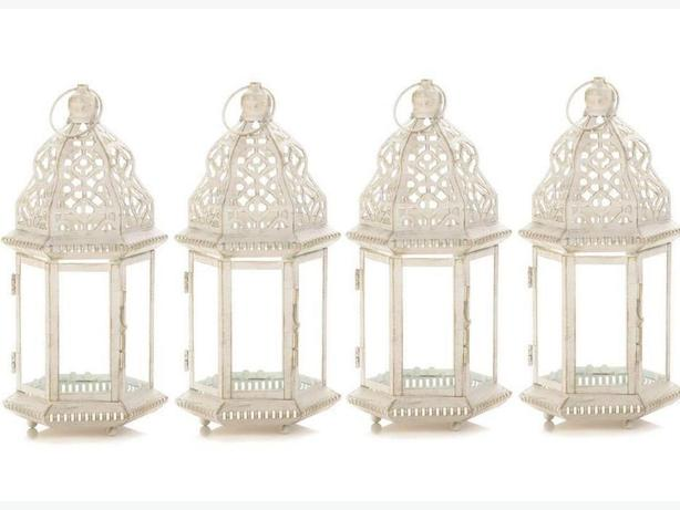 Vintage-Look Distressed White Candle Lantern Set of 4 Brand New