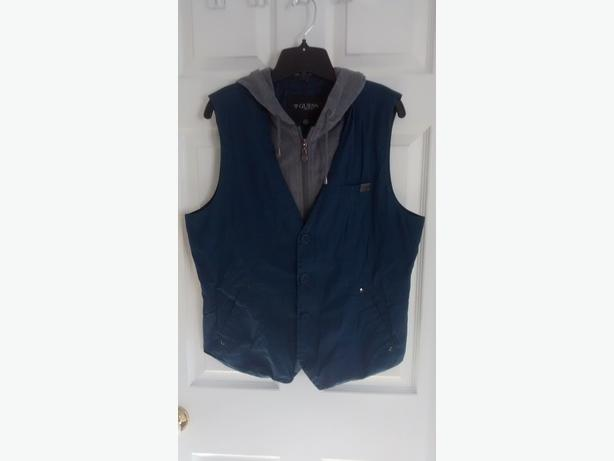 Men's GUESS Vest with Hood - Size Large