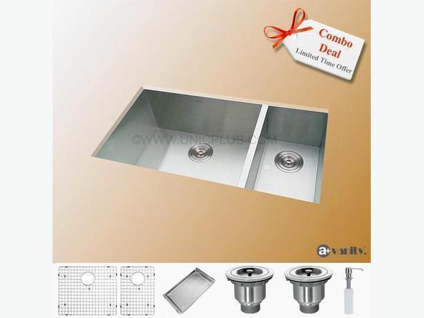 "33"" Contemporary Style Zero-Radius Stainless Steel Kitchen Sink 70/30"