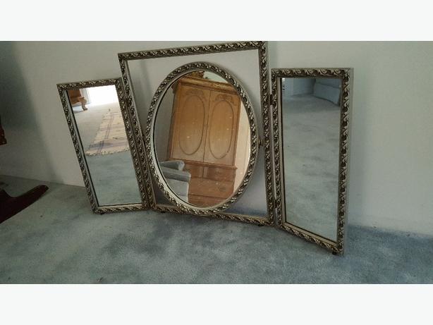 MIRROR Tri-Swivel/Hinged Pewter Mirror Set