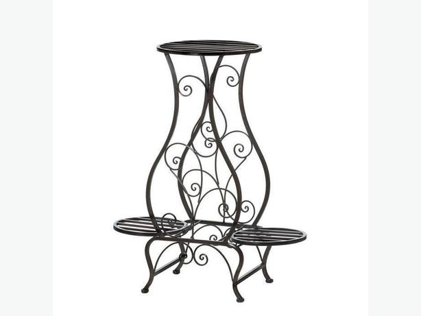 Black Metal Scrollwork Plant Stand Holds 3 Plants Unique Shape New