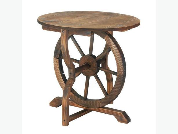 Country Western Round Patio Table with Wagon Wheel Base Wood & Metal Brand New