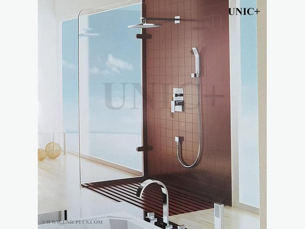 Designer Bathroom Solid Brass Walk in Rain Shower Set Chrome