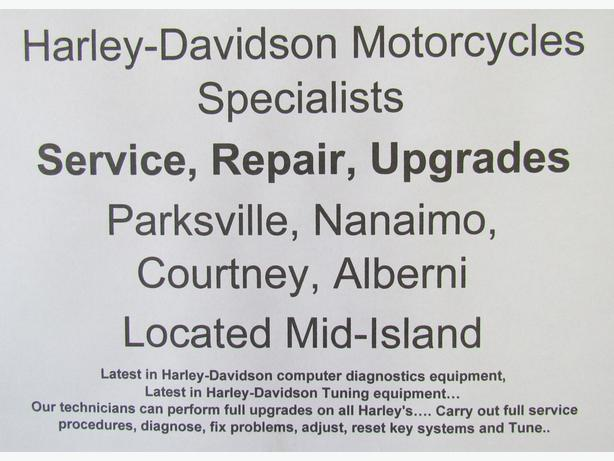 Harley Davidson  Service, Repairs Parksville, Nanaimo, Courtney, Port Alberni