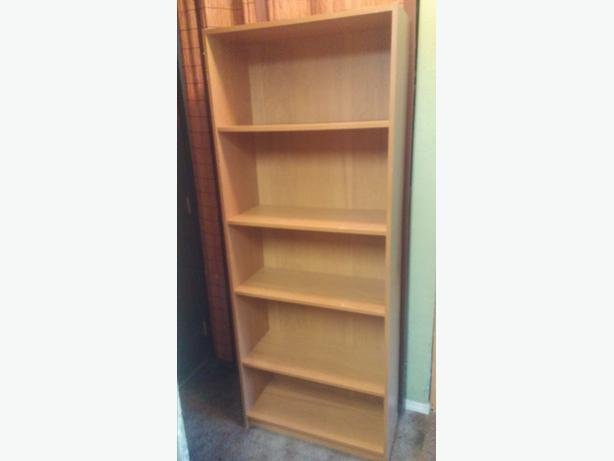 TAN COLORED BOOK SHELVE/3 ADJUSTABLE SHELVES/AND I THAT HOLDS TOGETHER/PLUS BACK
