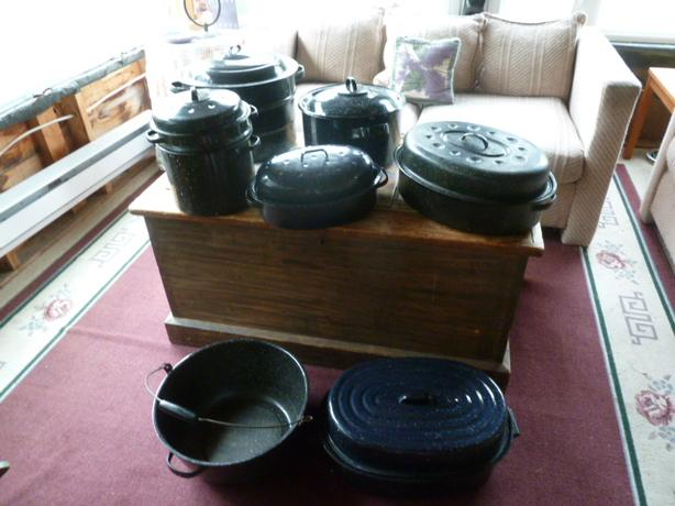 Collection of ENAMELWARE Pots and pans