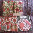 Poinsettia Pot Holder Oven Mitt Towel Apron Tablecloth Doilies Christmas Mix New
