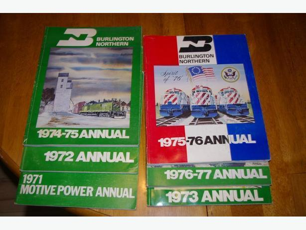 Collection of Burlington Northern Motive Power Annuals 1971 to 1977