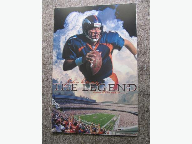 "1998 John Elway The Legend Costacos Bros. Poster. 35"" x 23"" RARE"