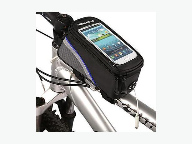"Bicycle Bike Frame Phone Bag - 1.7L 5.7"" - Black/Blue"