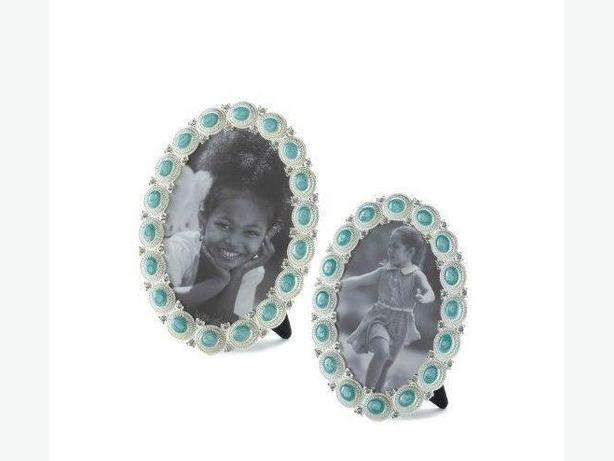 Oval Photo Picture Frame Sea Green Jewel Accent 2 Sizes 4X6 & 5X7 4PC Mixed New