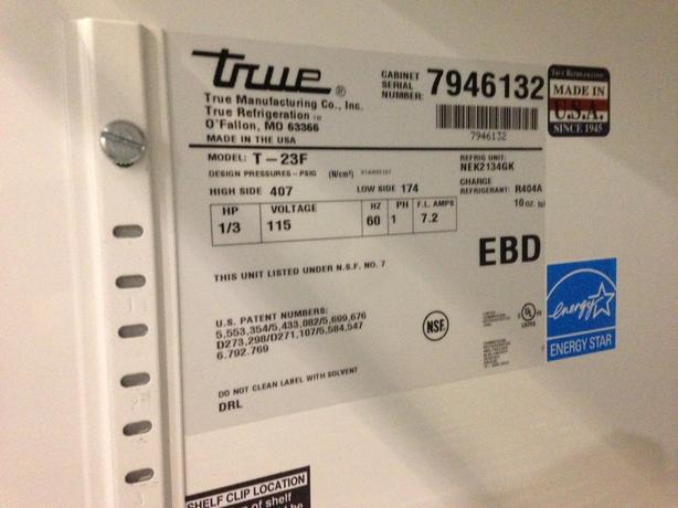 True One Door Reach-In Freezer model T23F