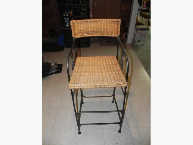 TWO wicker bar stools