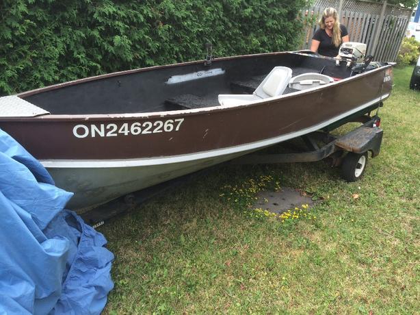 14 Foot Aluminum Boat 9 9 Motor And Trailer Sault Ste