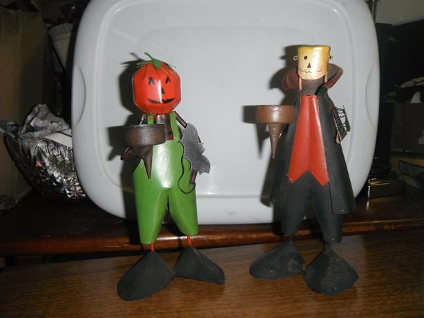fall harvest or halloween metal tea light figurines / set of 2