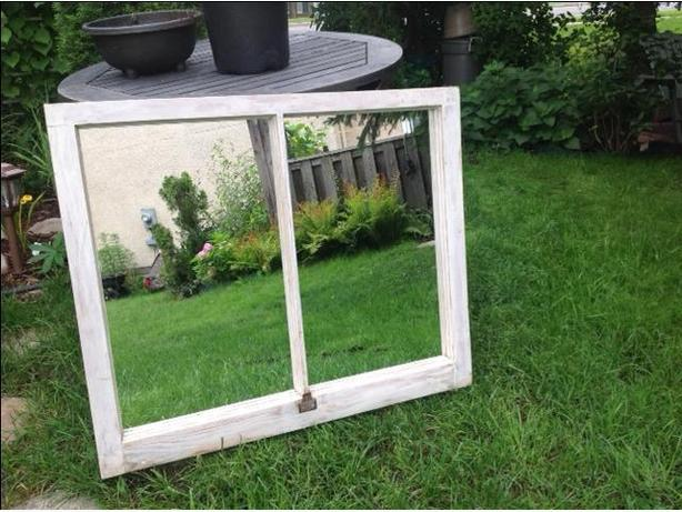 UNIQUE ANTIQUE WINDOW MIRROR