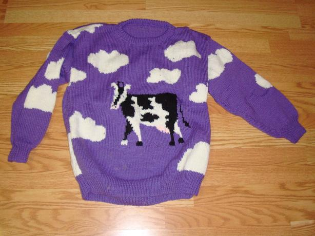 Brand New Knitted Cow Sweater Youth Size L - $