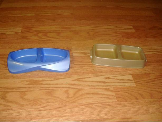 2 Like New Double Cat Dishes - $1 each