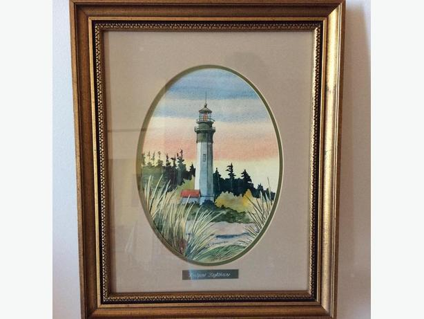 WESTPORT LIGHTHOUSE - SIGNED WATERCOLOUR - R. CHAMBERLAIN