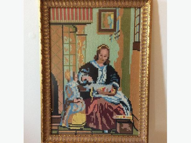 OLD HAND EMBROIDERED CROSS STITCH PICTURE