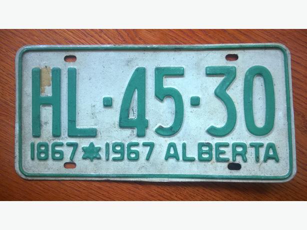 Alberta Centennial (1967) Licence Plate HL-45-30 - $60