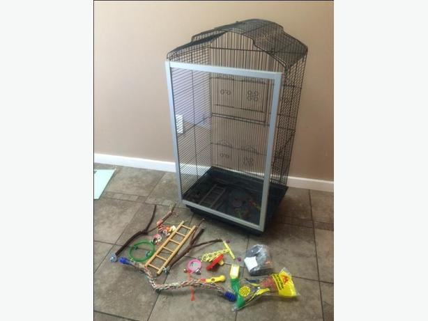 Beautiful bird cage with glass front