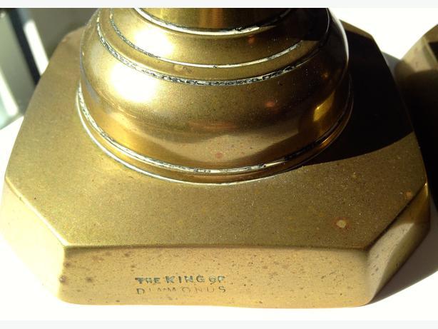 RARE- Pair of King of Diamond Brass Candlesticks English c1897