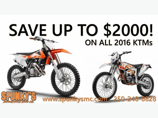Save up to $2000 on 2016 KTMs!!
