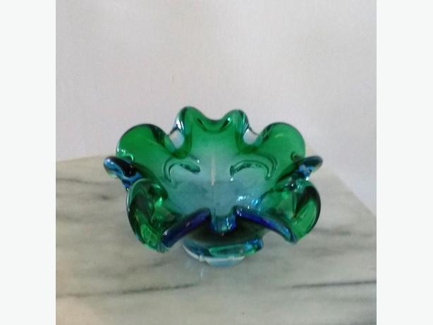 CHALET STYLE BLUE/GREEN ART GLASS PIECE