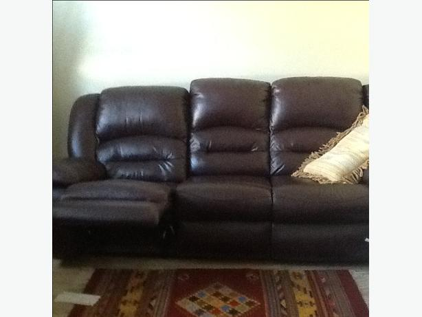 Leather sofa three seat recliner style