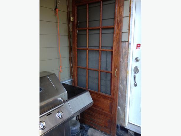 Beutiful wood screen door stained new never installed for New screen door home depot
