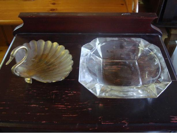 Like New Beautiful Bronze and Glass Swan Ashtrays - $10 for both
