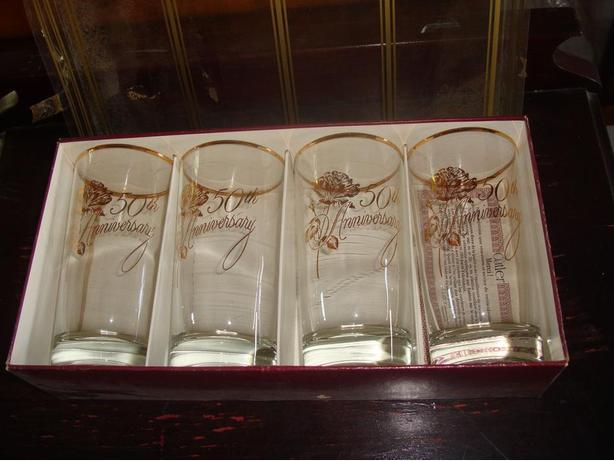 "Like New Set of 4 Cutler highball glasses with ""50th anniversary"" - $15"