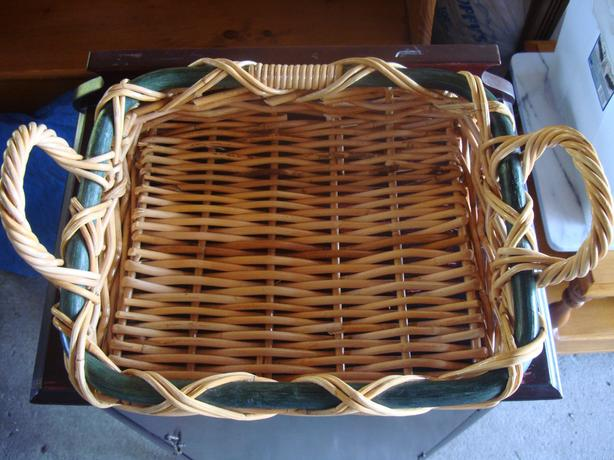 Like New Strong Wicker Rattan Basket or Tray Holder - $10