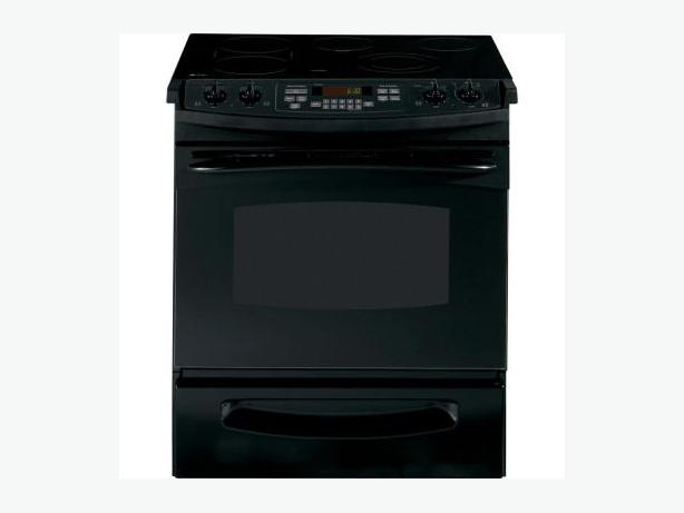 GE Profile Slide-in Electric Range w/self-cleaning oven - black