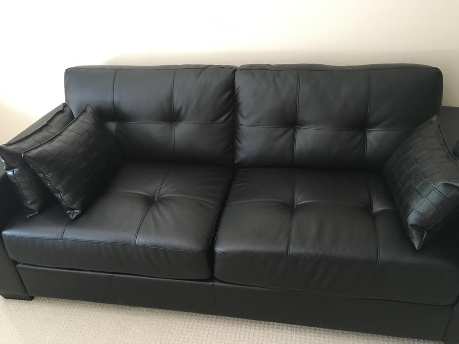 Throw Pillows For Leather Sofas : Black Faux Leather Couch + 3x Faux Leather Pillows Central Nanaimo, Parksville Qualicum Beach