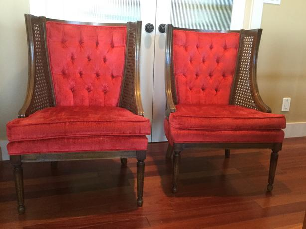 REDUCED; Vintage cane occasional chairs